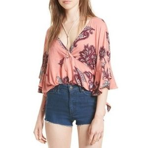 Free People Maui Wowie blouse coral pink floral S